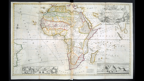 18th-century European map of Africa, with coloured lines dividing the continent
