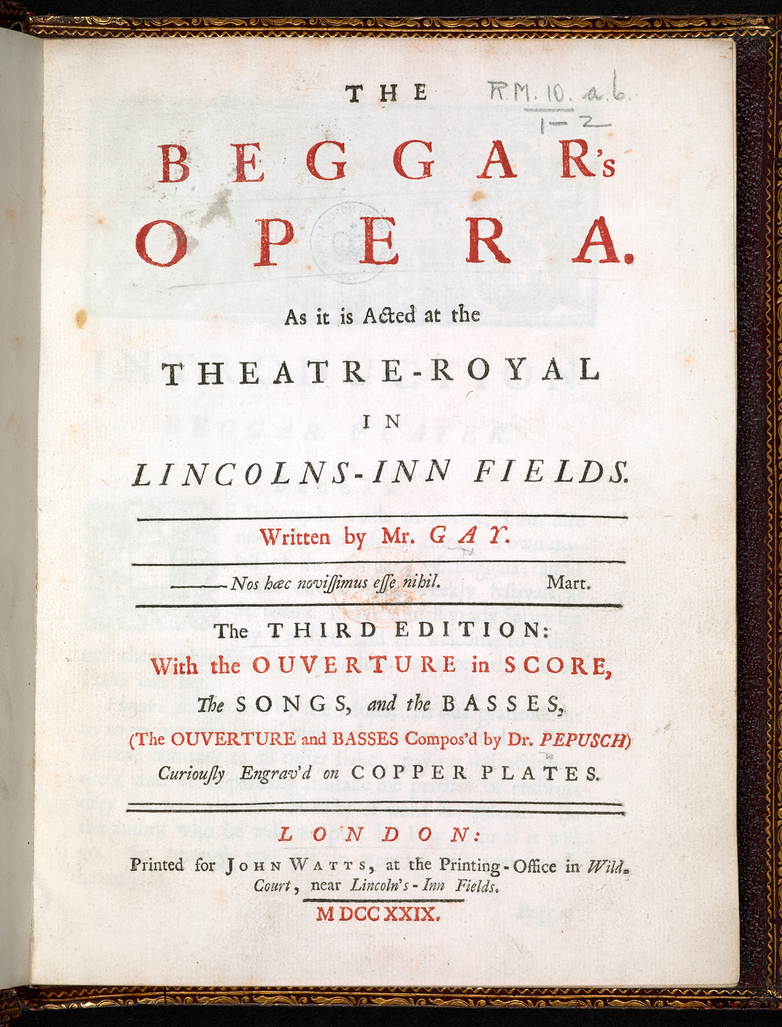 Third edition of The Beggar's Opera by John Gay, 1729