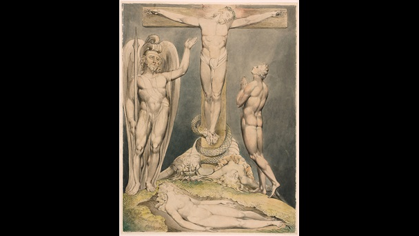 Watercolour illustration depicting Jesus' cruxificion, with Michael showing Adam the scene while Eve sleeps, from William Blake's illustrations for Paradise Lost, 1808
