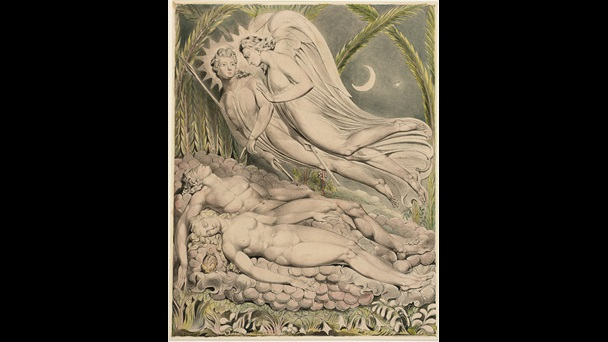 Watercolour illustration of Satan, Adam and Eve from William Blake's interpretation of Paradise Lost, 1808