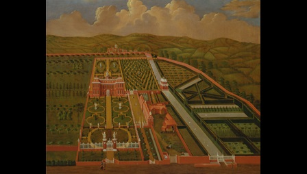 Painting depicting an aerial view of Denham Place, a large country house with  elaborate formal gardens