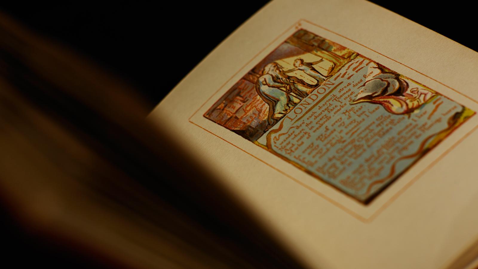 Looking at the manuscript of William Blake's 'London'