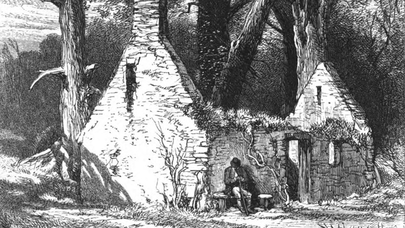A ruined stone cottage with woods in background. The frontispiece by Birket Foster of William Wordsworth, The Deserted Cottage, London, 1859.