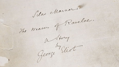 George Eliot's handwritten title page for Silas Marner: The Weaver of Raveloe