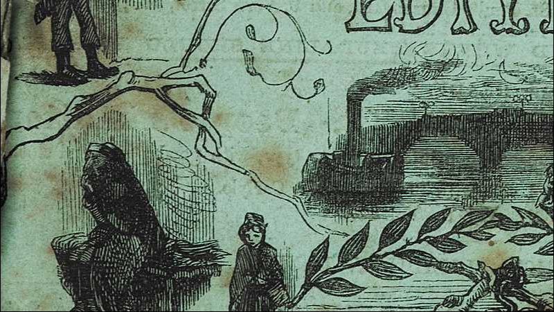 Crop of front cover to one of Charles Dickens's installments, with illustations of a figure rowing on a river at night, a woman and a man who has a prosthetic hand in the form of a hook