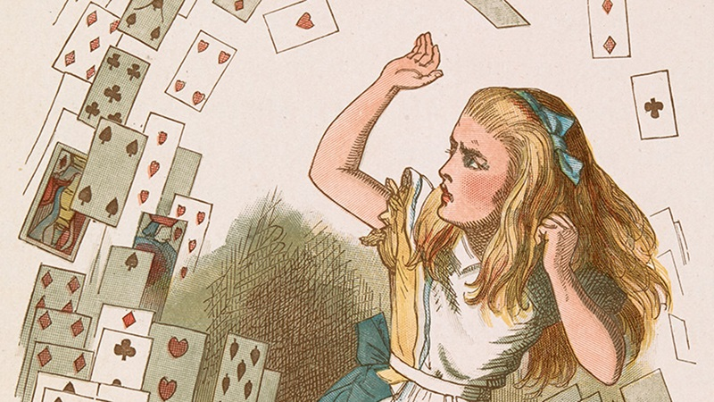 Colour illustration of Alice and a flying pack of cards, from Alice's Adventures in Wonderland