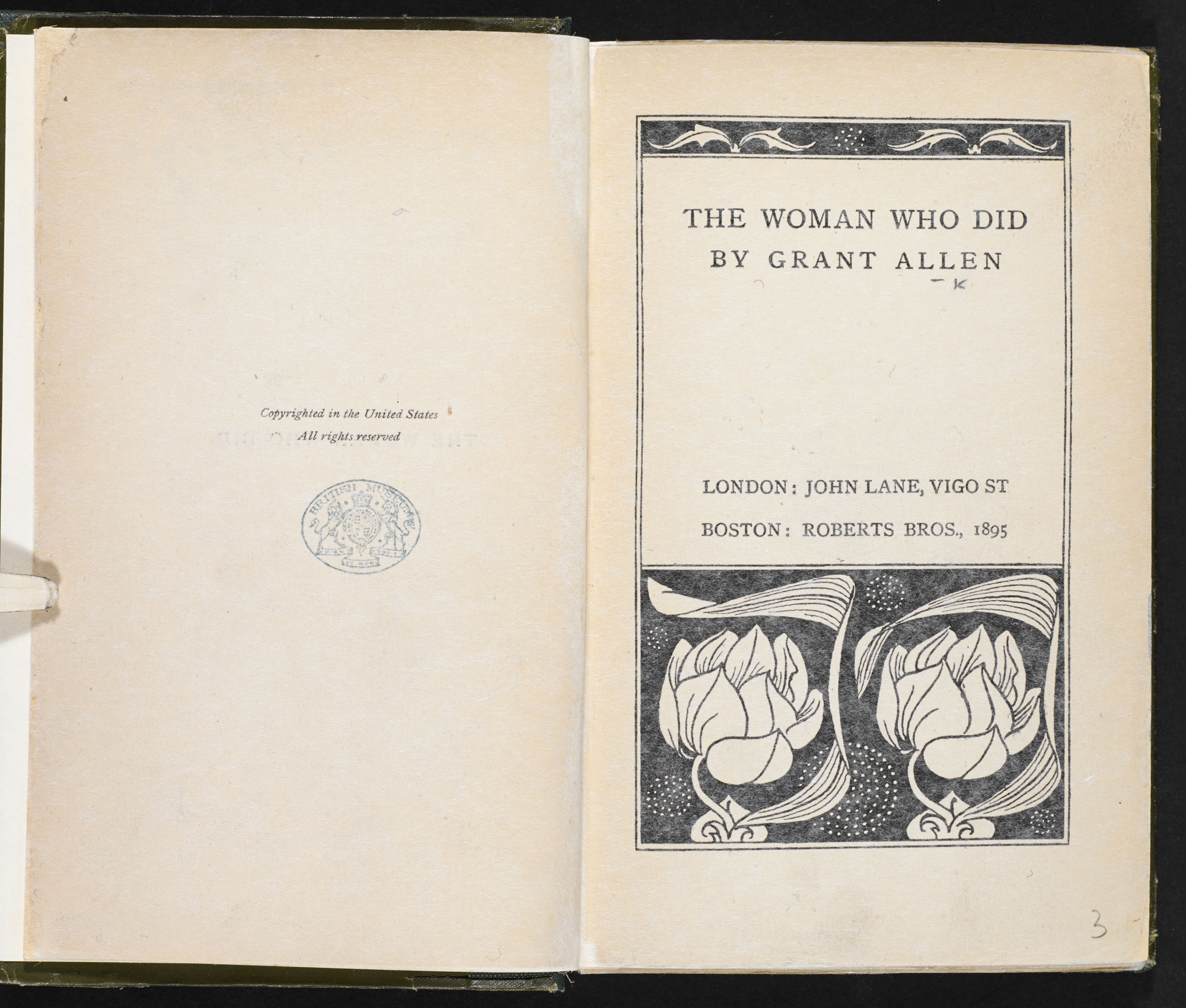 The Woman who Did, a novel [page: frontispiece and title page]