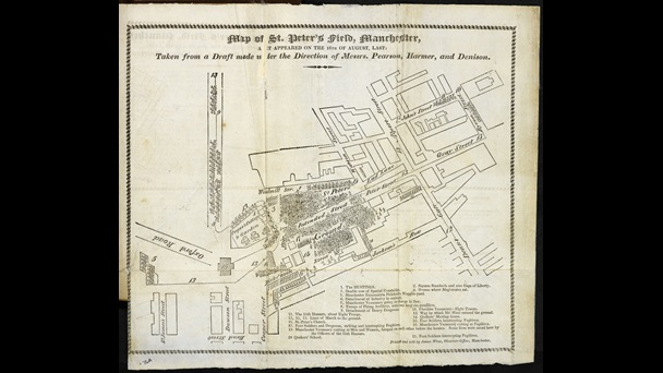 Aerial view map or plan depicting the location and movements of protestors and soldiers at St Peter's Fields