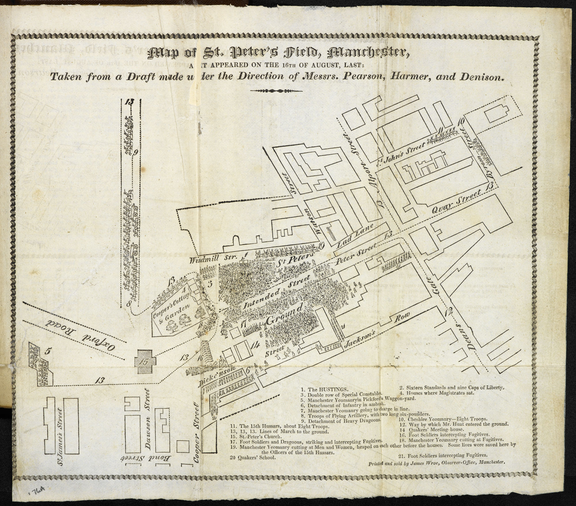 Map of the Peterloo Massacre and portrait of Henry Hunt [page: fold-out plate between pp. 76-77]