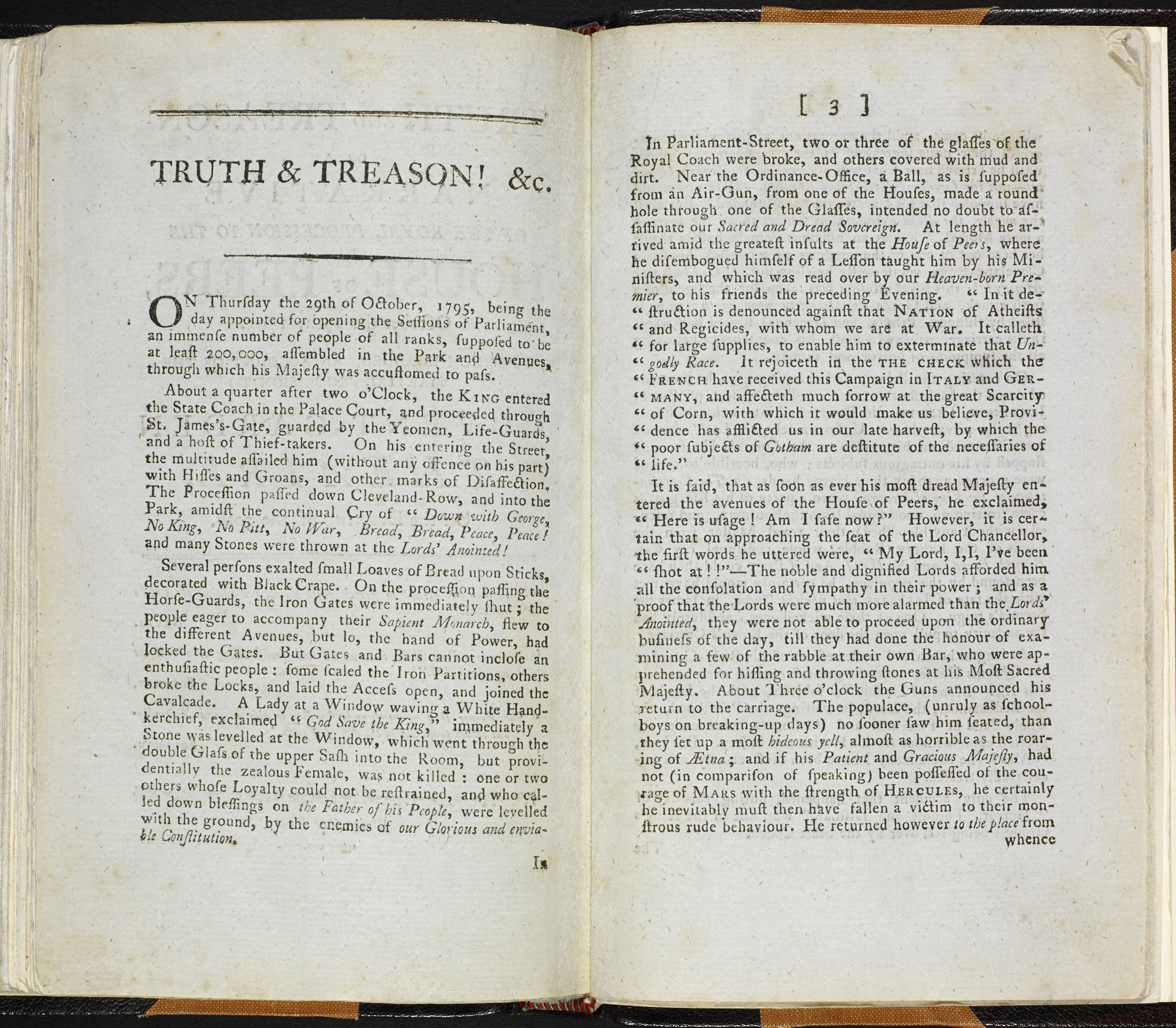 Truth and treason! or a narrative of the royal procession to the House of Peers, October the 29th, 1795 [page:2-3]
