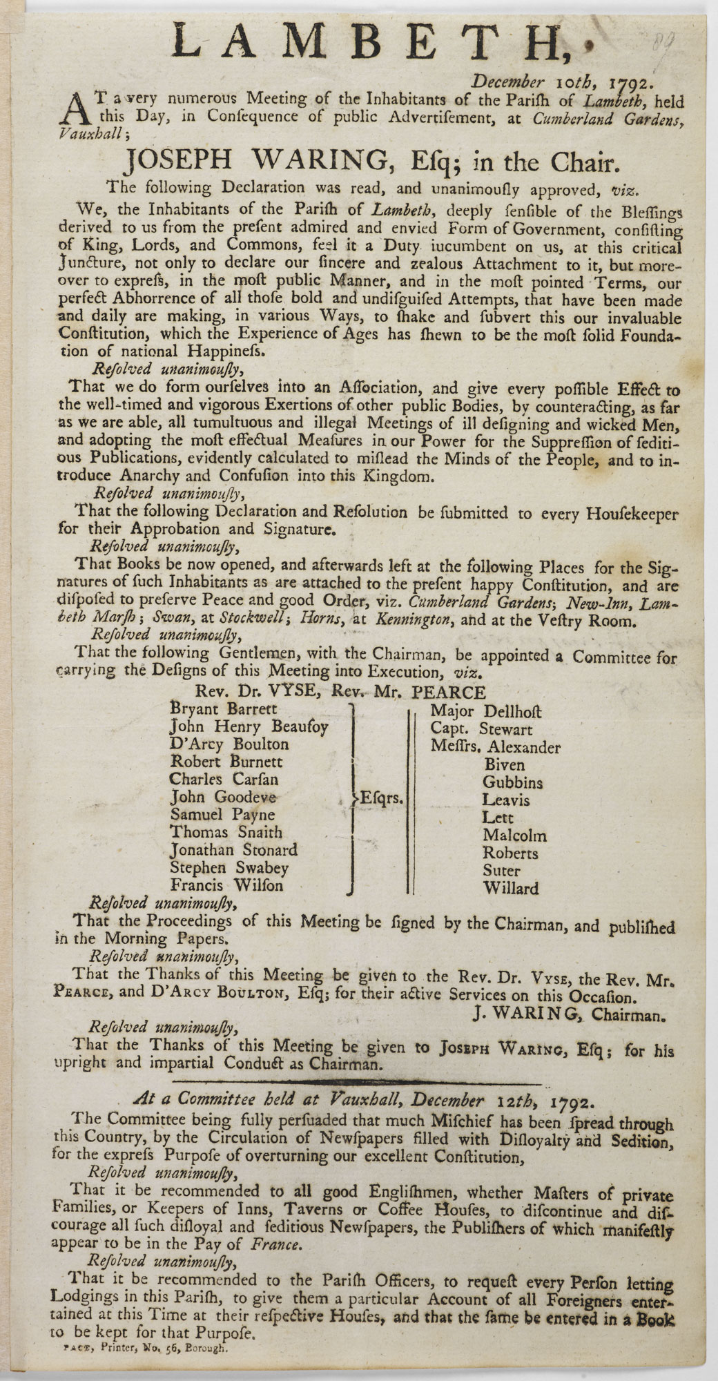 Lambeth Loyalist declaration [page:89r]