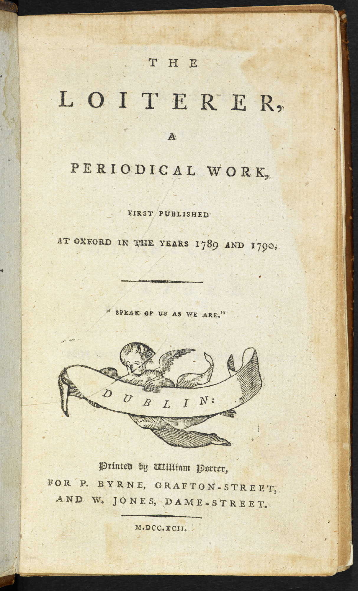 The Loiterer: Periodical written and edited by Jane Austen's brothers [page: title page]