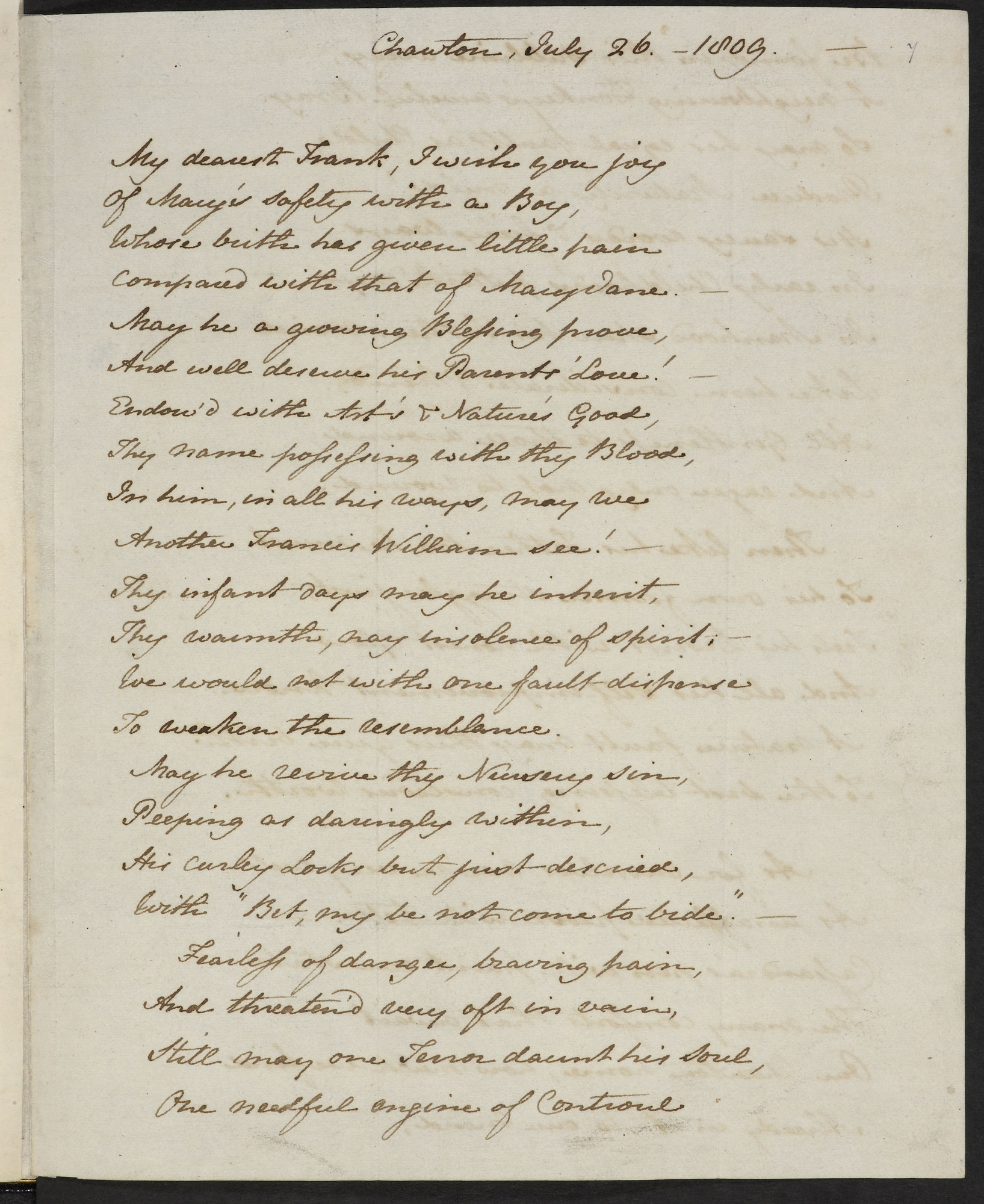 Letter from Jane Austen to her brother Frank, 1809 [folio: f. 7r]
