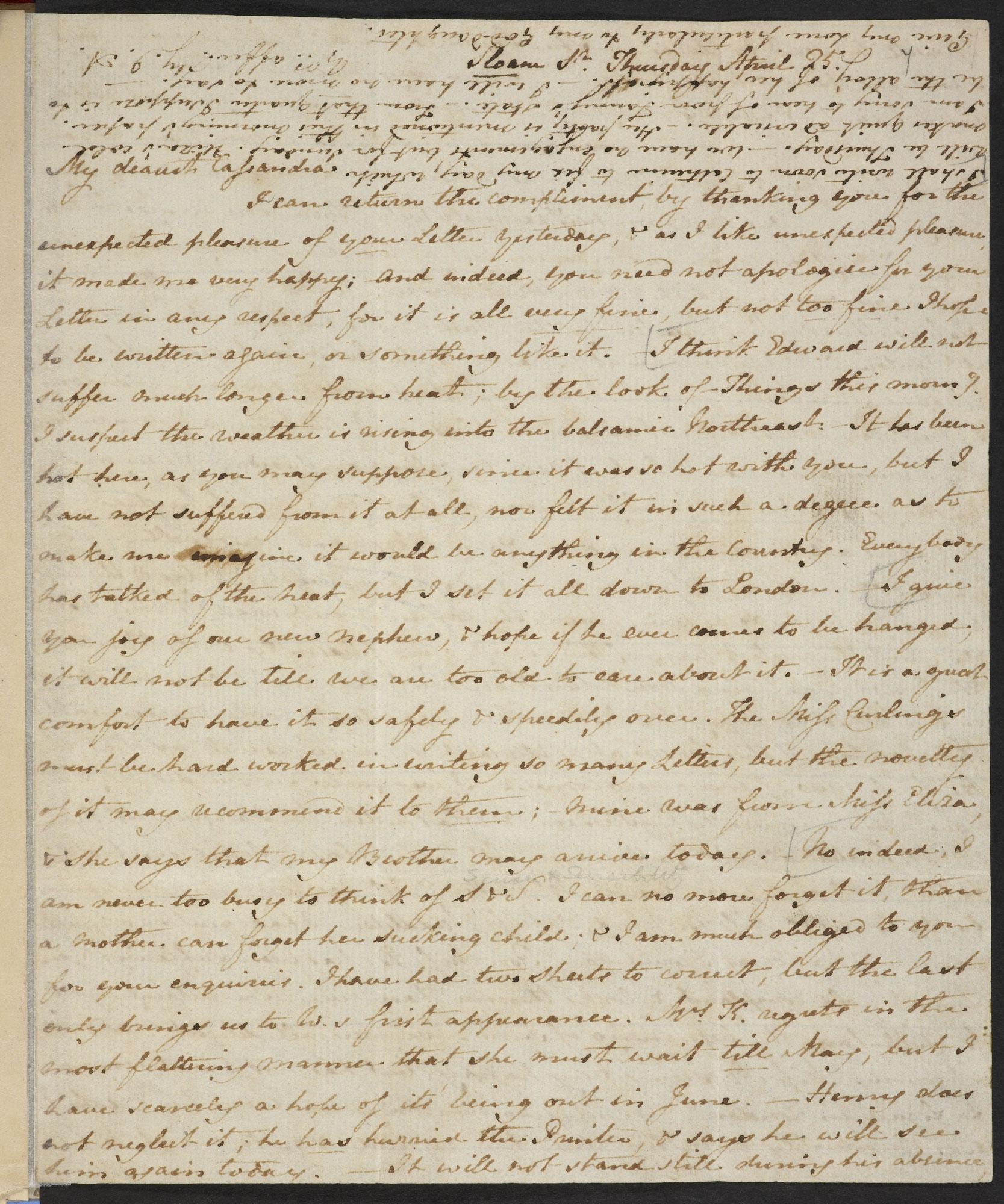 Letter From Jane Austen To Her Sister Cassandra 25 April 1811 The