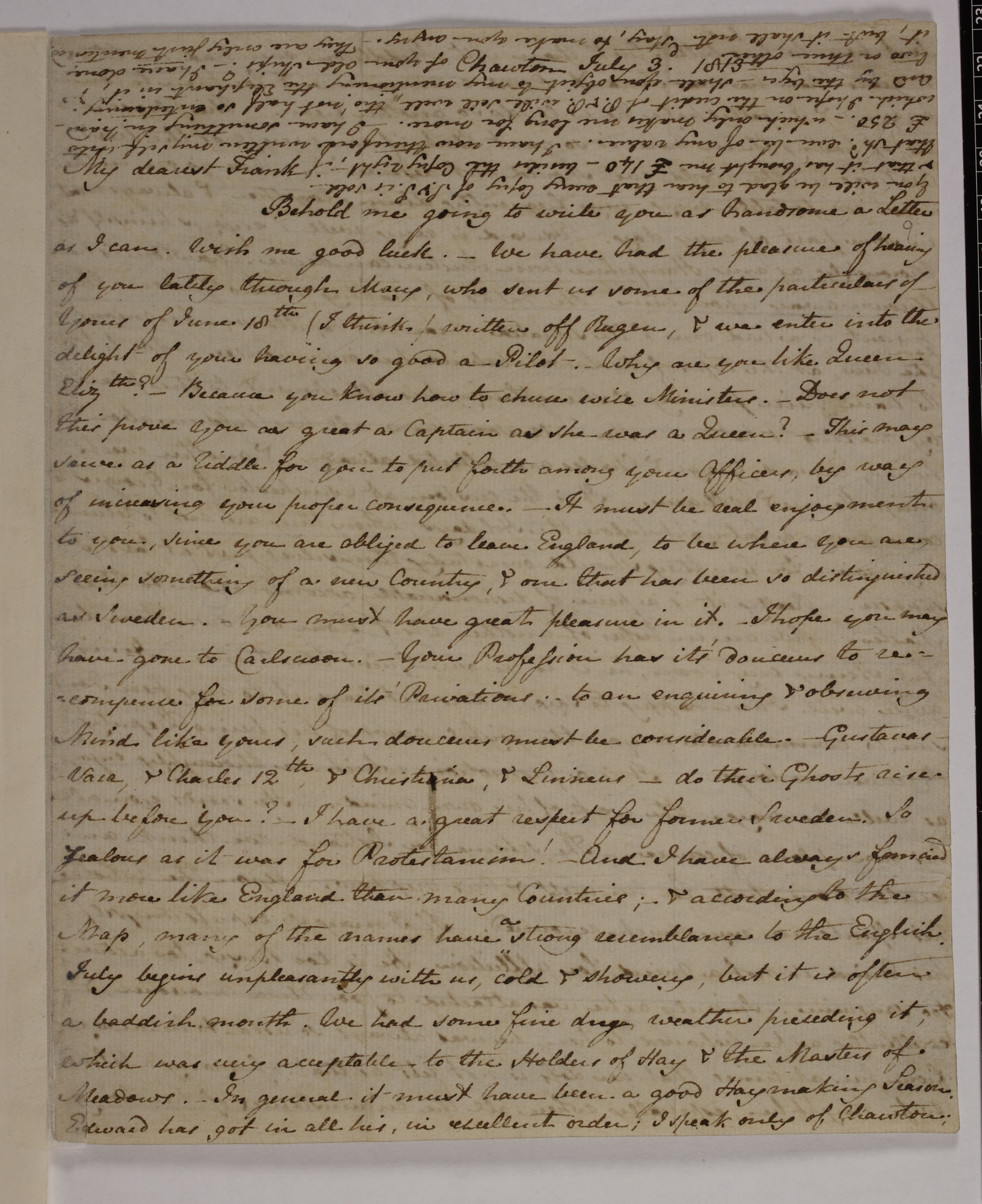 Letter from Jane Austen to her brother, 1809 [folio: f. 9r]