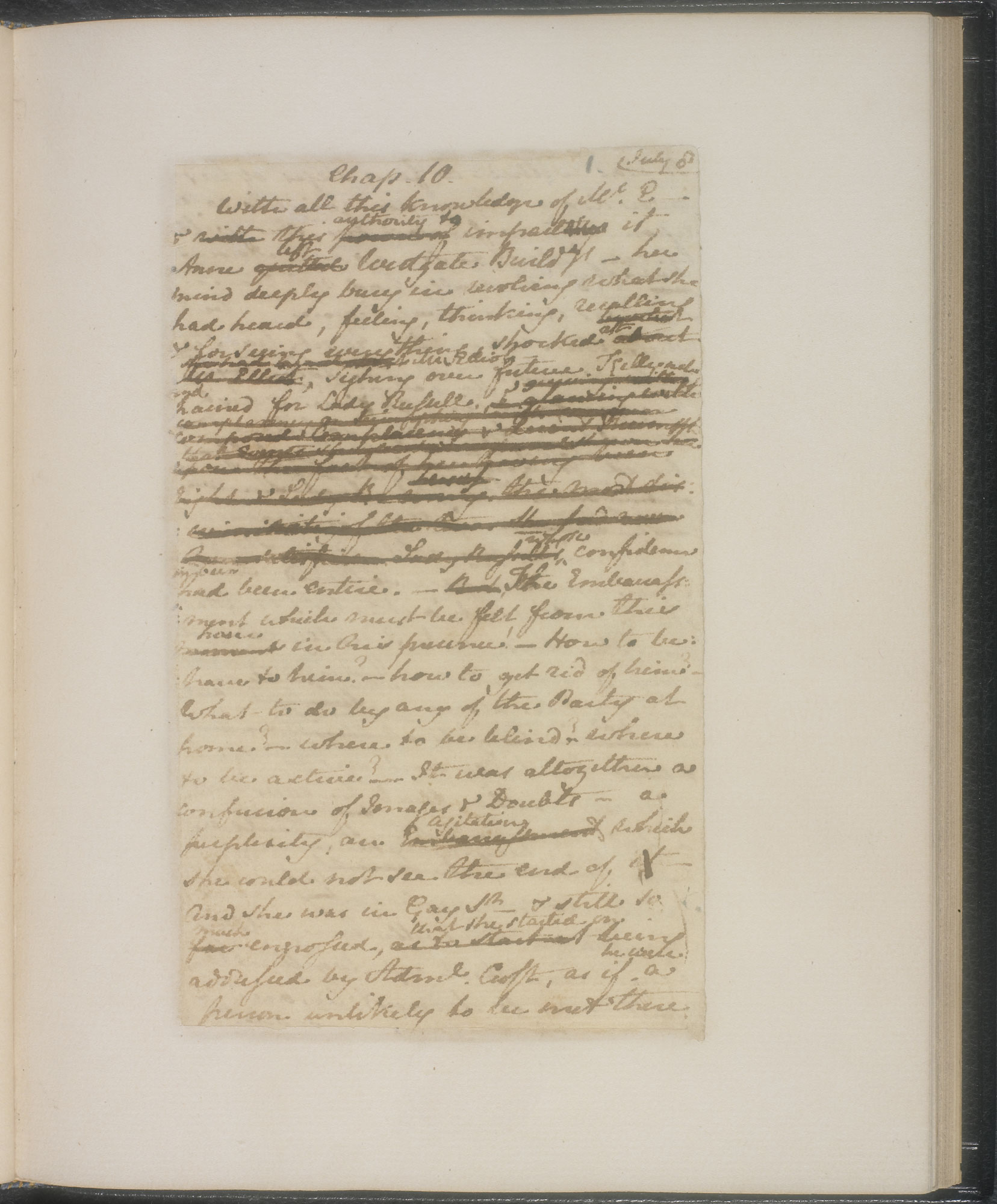 Manuscript of chapters 10 and 11 from Jane Austen's Persuasion (British Library)