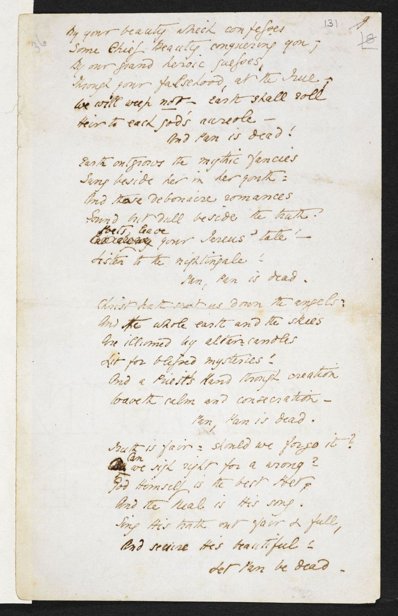 Manuscript draft of 'Pan is Dead' by Elizabeth Barrett Browning [folio: f. 131r]