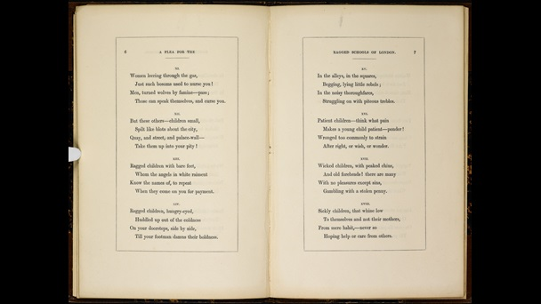 Pages 6 and 7 with verses from 'A Plea for the Ragged Schools of London' by Elizabeth Barrett Browning