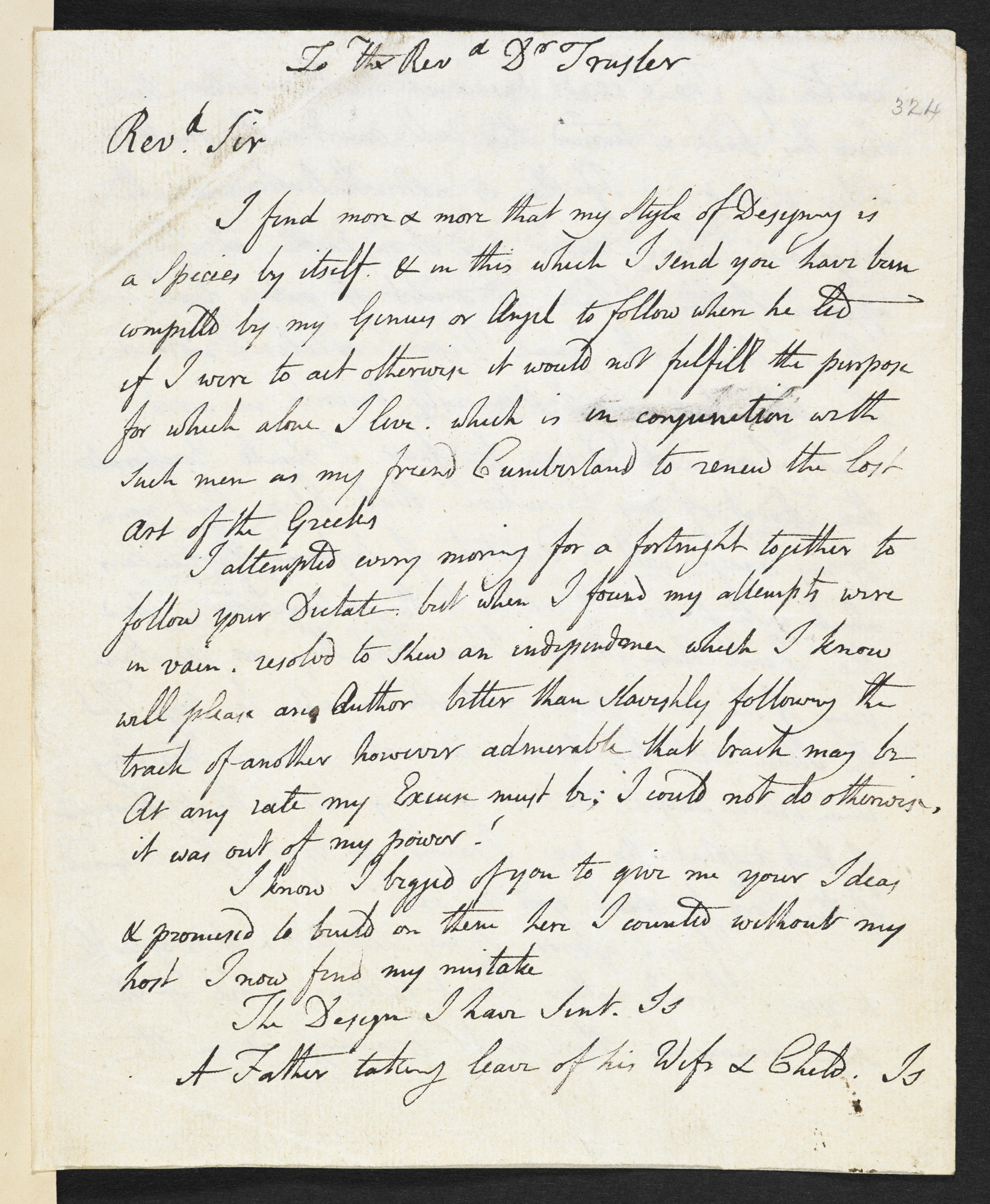 Letter from William Blake to Dr Trusler, 16 August 1799 [folio: 324r]