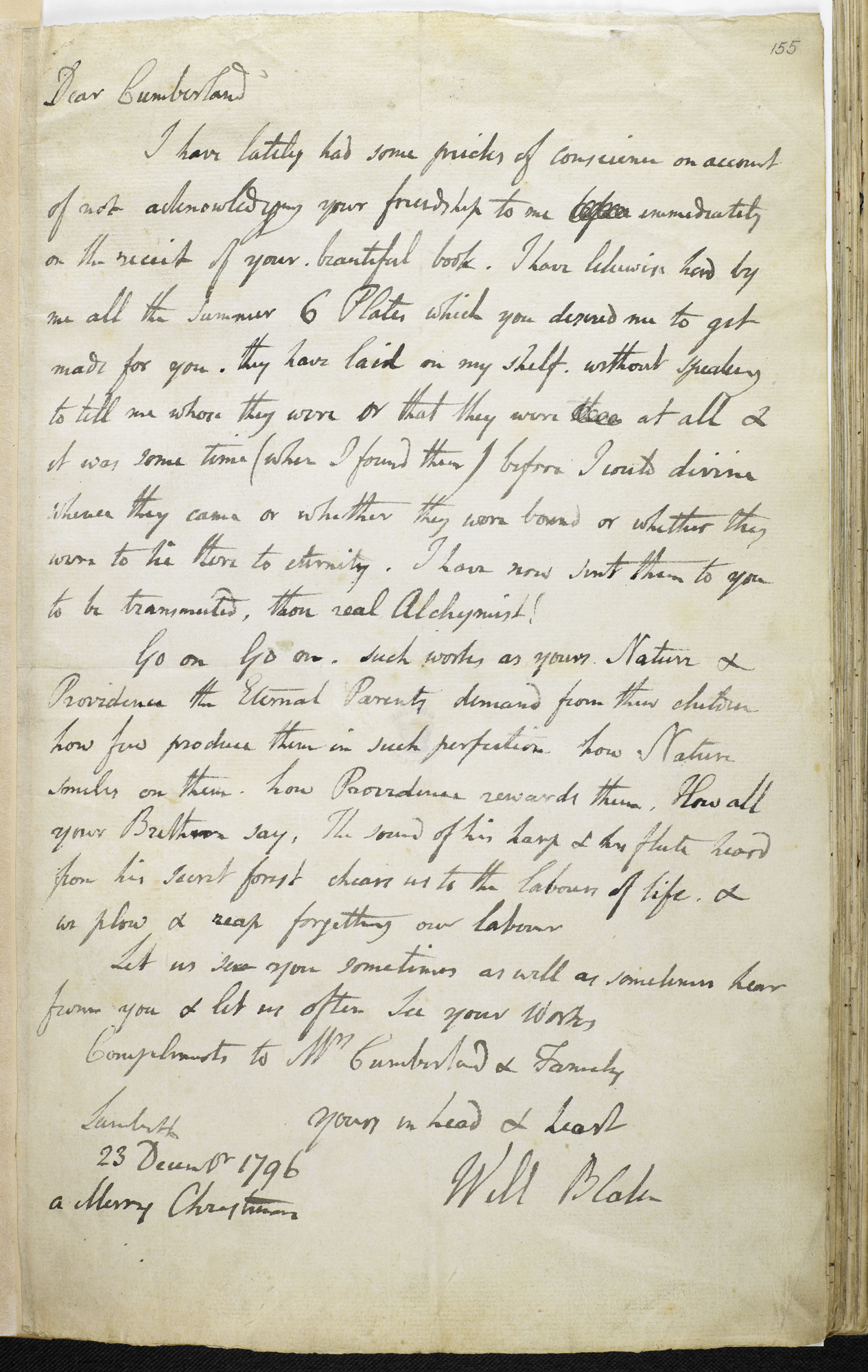 Letter from William Blake to George Cumberland, 23 December 1796 [folio: 155r]