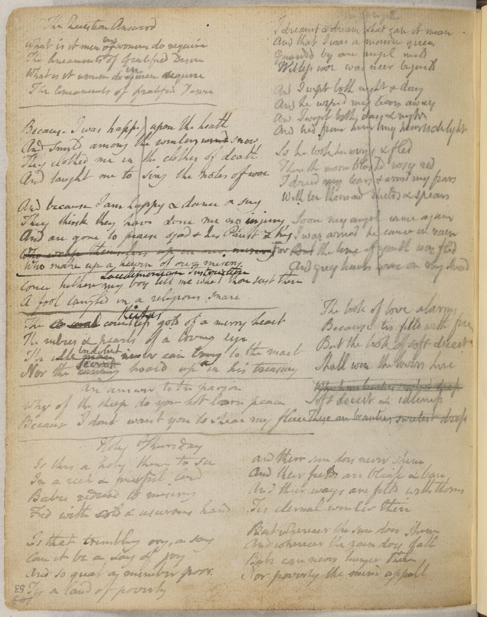 Blake's notebook draft of 'The Chimney Sweeper' for Songs of Experience.