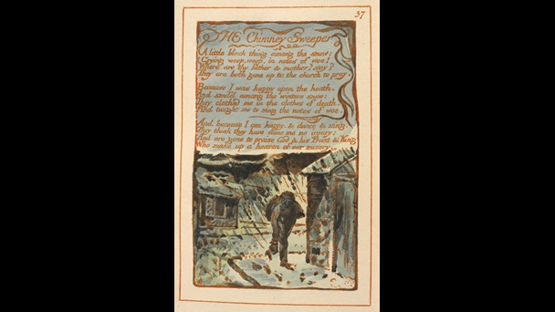 'The Chimney-Sweeper' in Songs of Experience, decorated text with illustration of a boy trudging along a snowy street