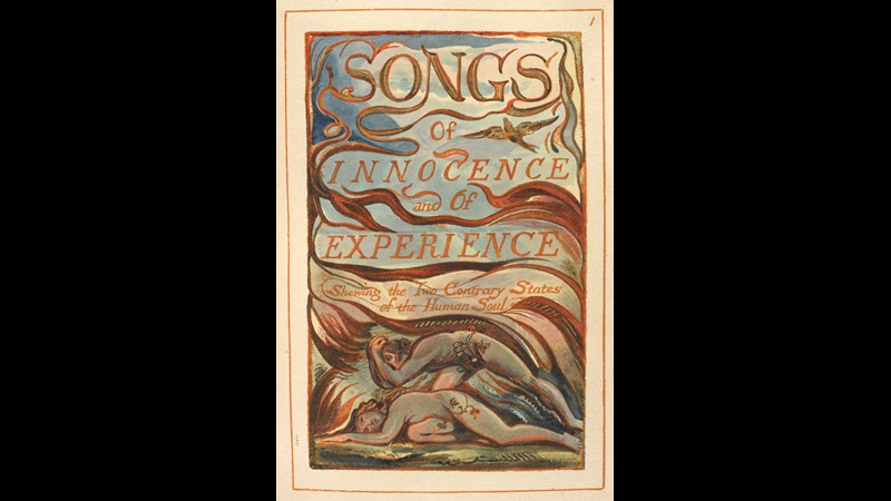 Deocorated title page from William Blake's Songs of Innocence and of Experience, with natural forms and two naked figures lying on the ground