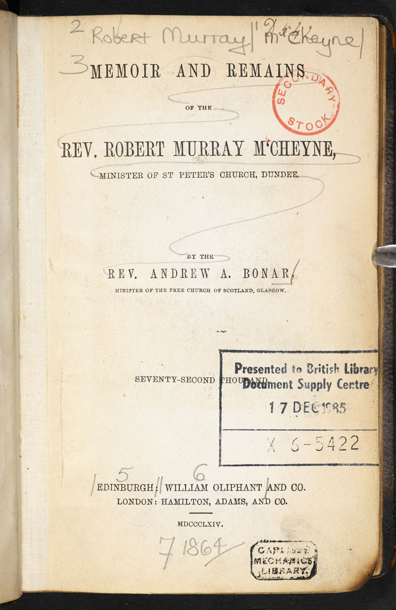 Memoir and remains of the Rev. Robert Murray M'Cheyne  [page: title page]