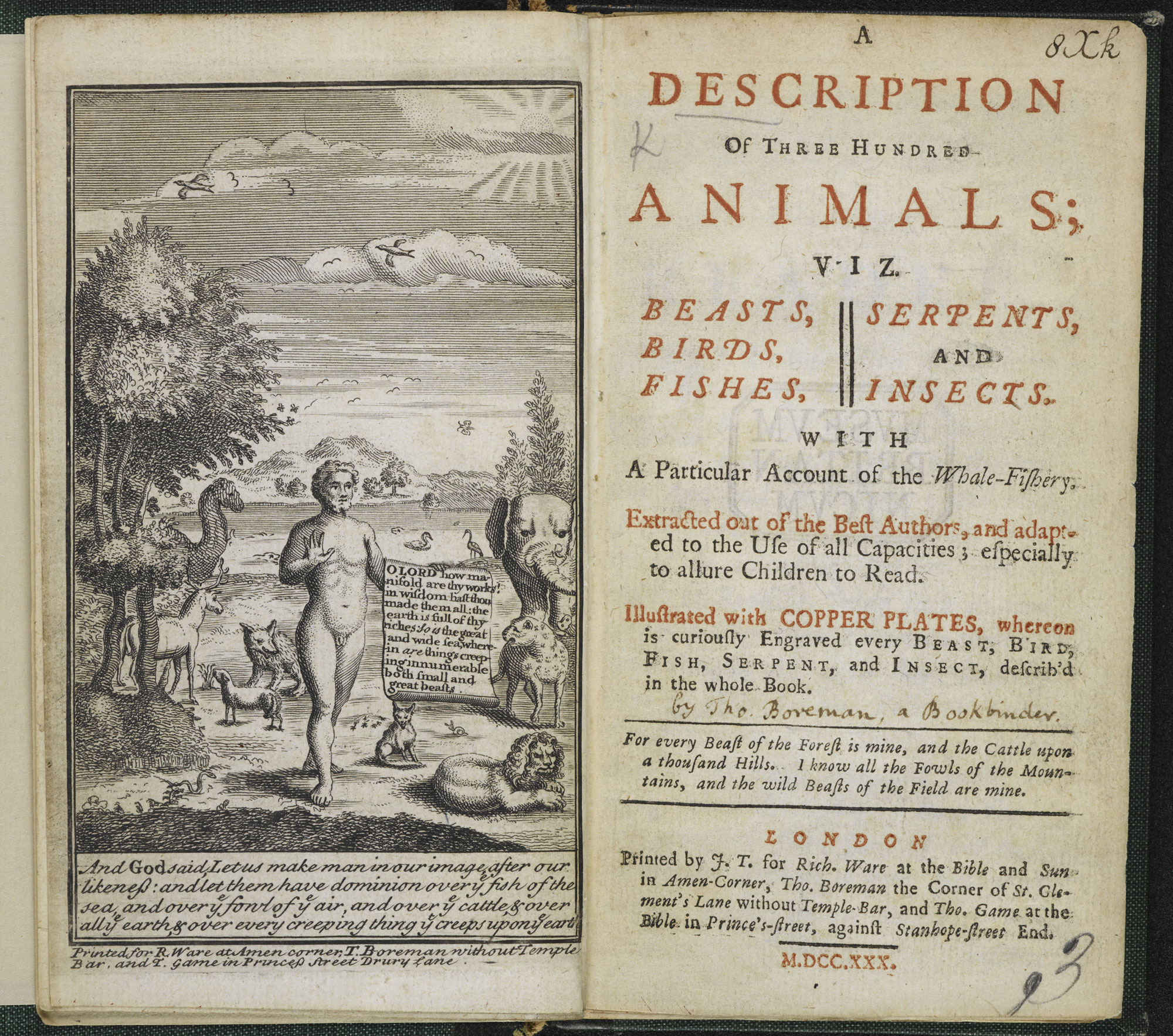 A Description of Three Hundred Animals [page: frontispiece and title page]