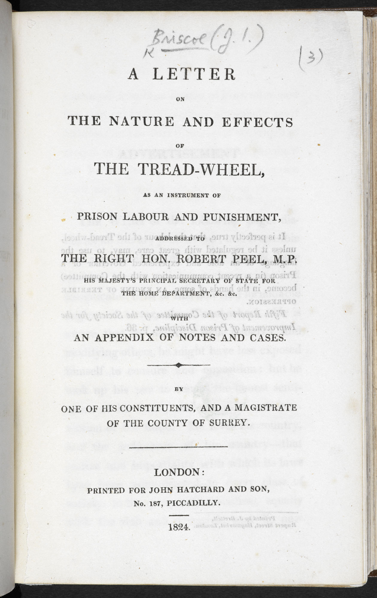 A Letter on the Nature and Effects of the Tread-Wheel [page: title page]