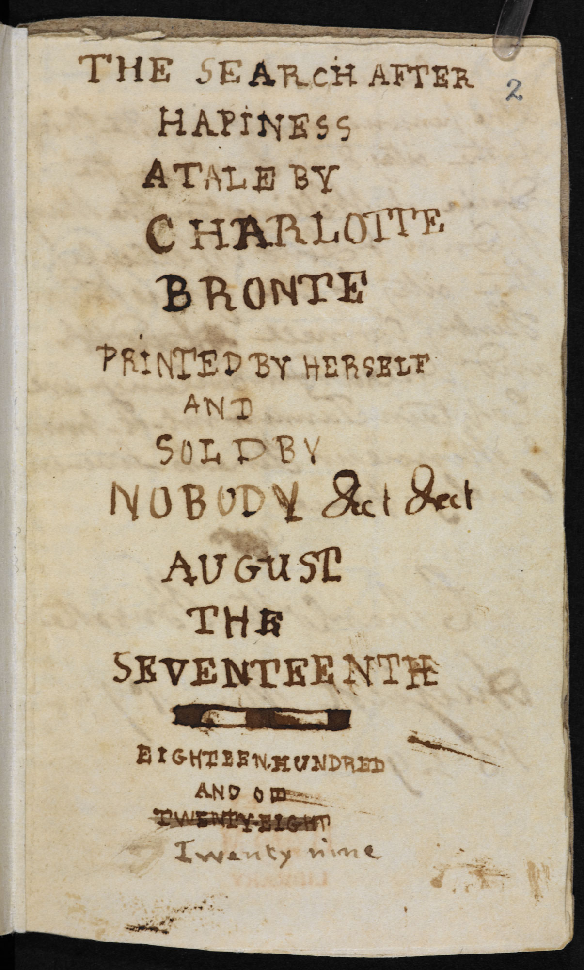 Bronte juvenilia: 'The Search after Happiness' [folio: 2r]