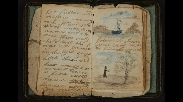 Open book image. The left hand page contains handwriting only. The right hand page also contains two images. The top one shows a blue sailing boat at sea. The lower one show a figure in red standing before a tree.
