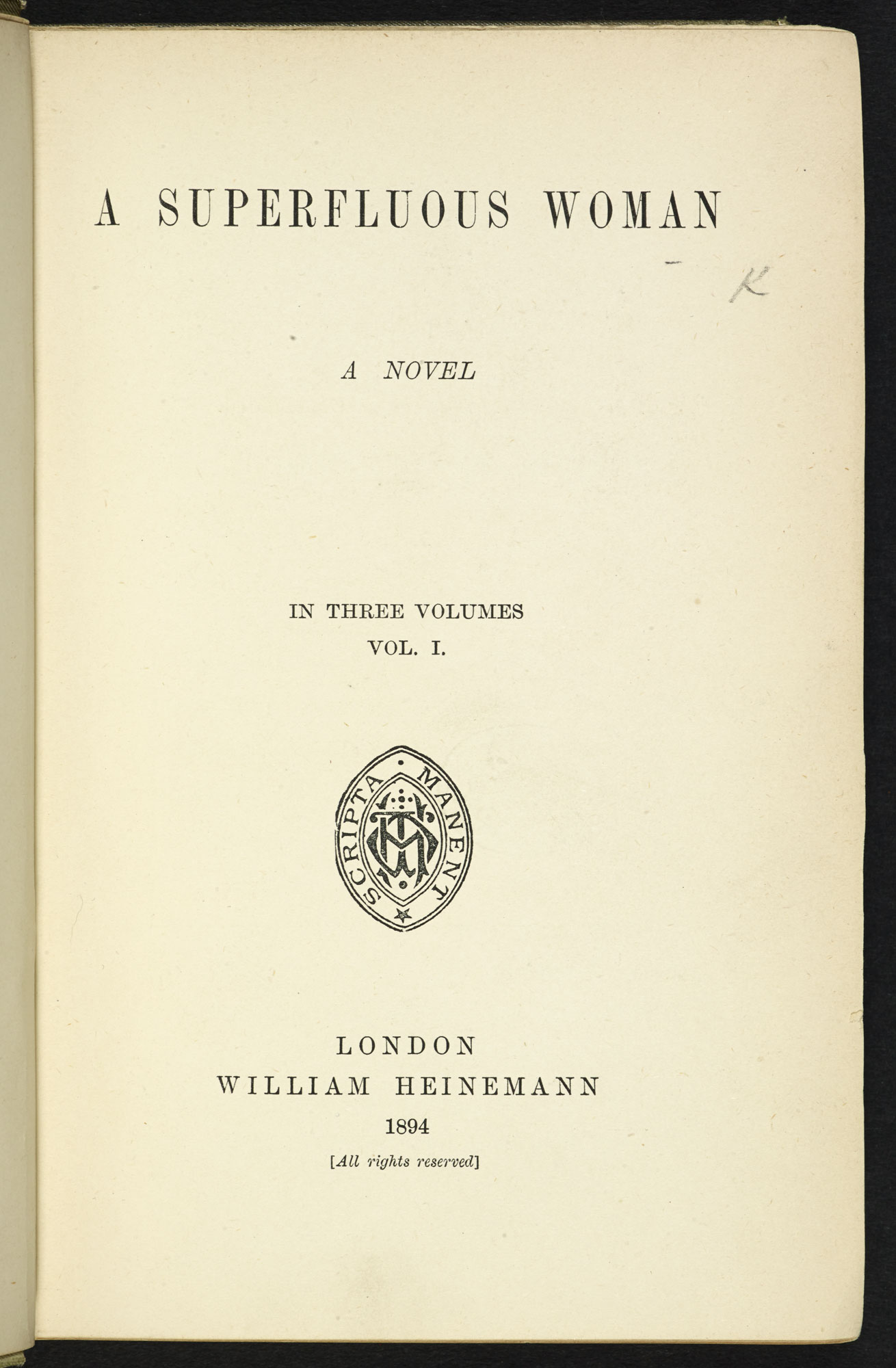 A Superfluous Woman [page: frontispiece and title page]