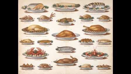 Beeton's everyday cookery and housekeeping page showing pictures of dishes