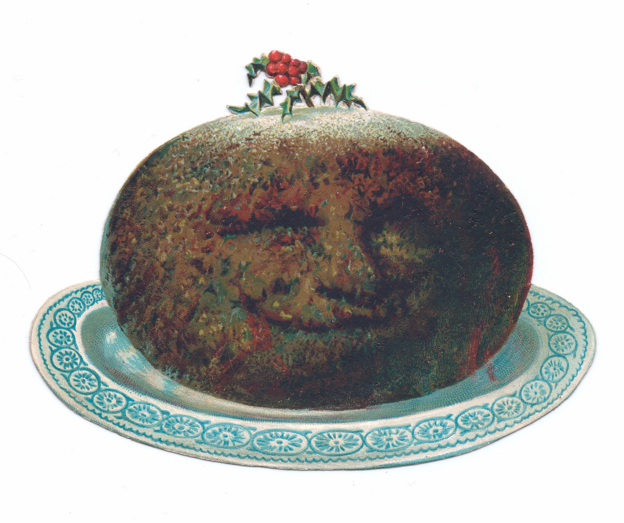 Greeting card in shape of a Christmas pudding