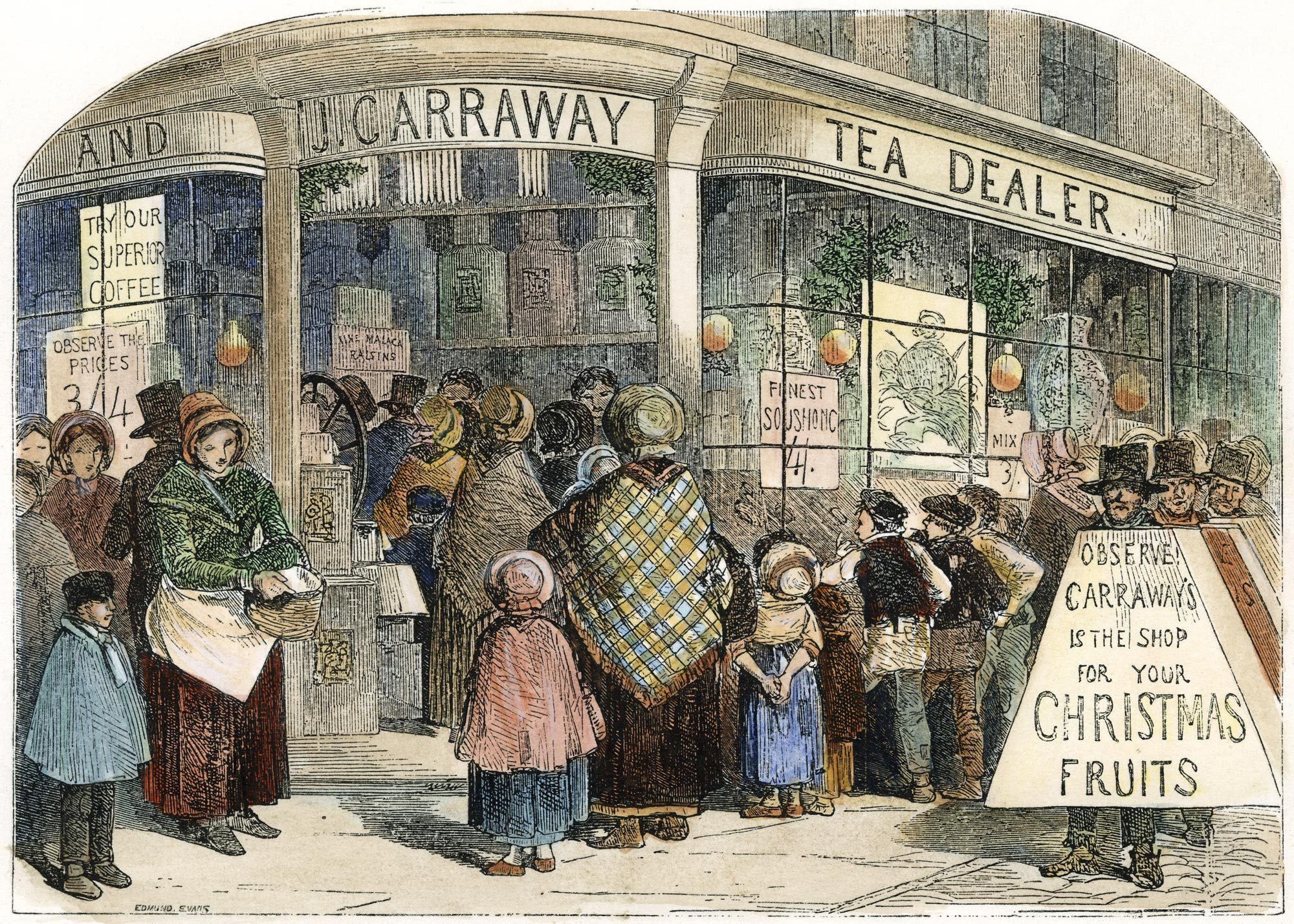 The grocer's shop at Christmas by Edmund Evans