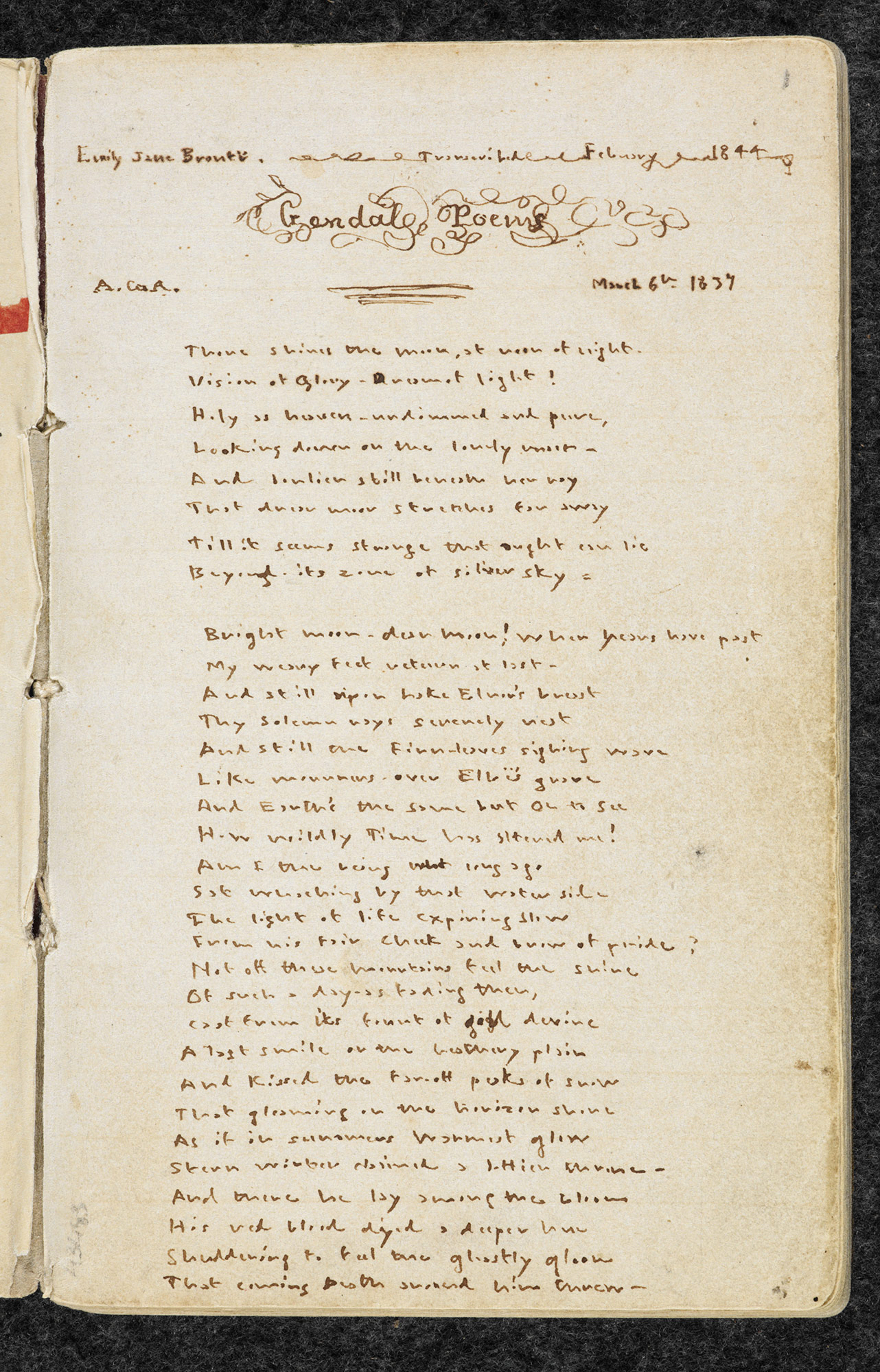 Manuscript of Emily Bronte's 'Gondal Poetry' f.1r