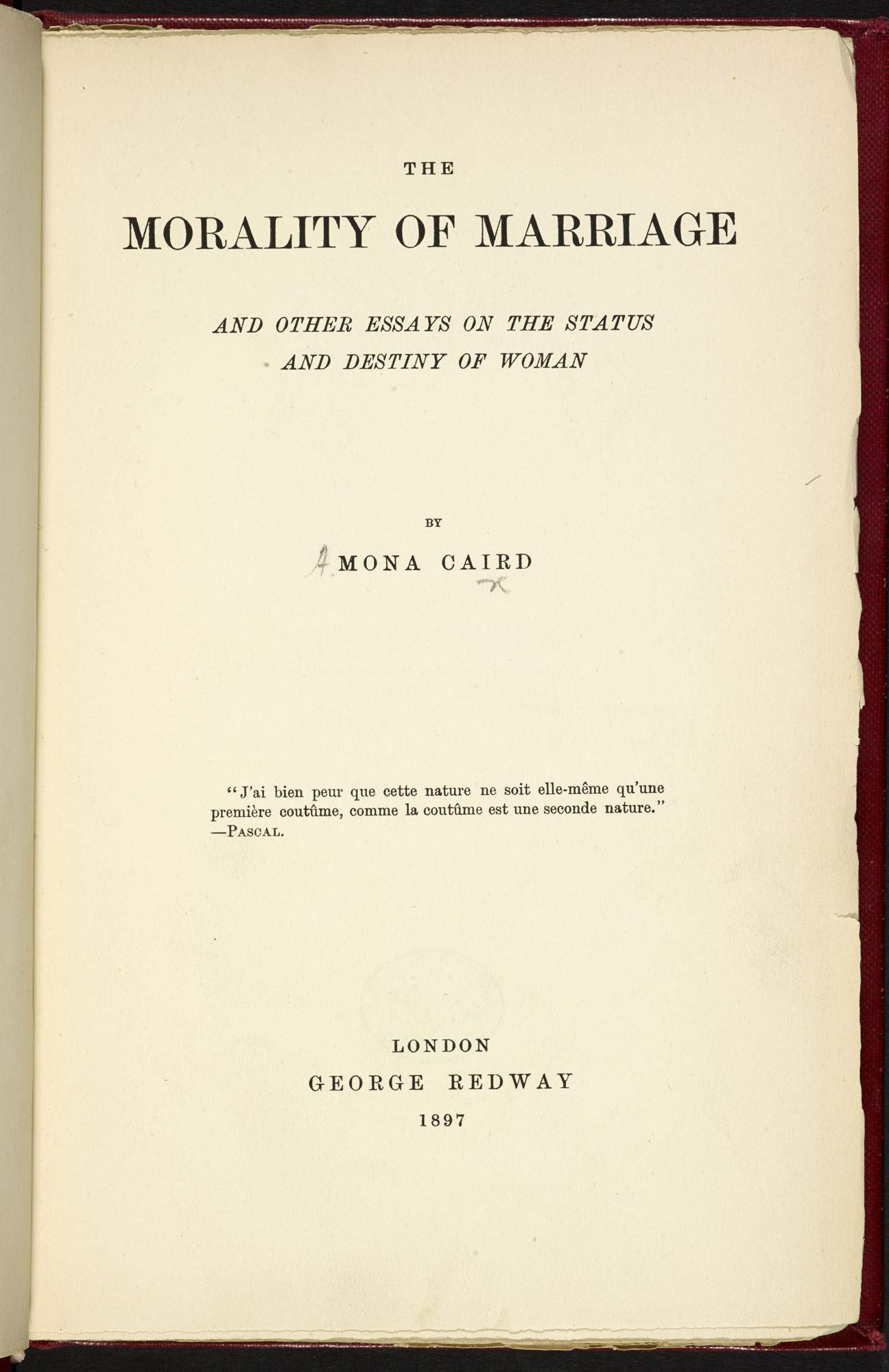 The Morality of Marriage [page: frontispiece and title page]