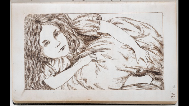 Folio: 20 recto. An illustration of Alice. She is in a fetal position, and squashed into the frame of the page. This makes it look as if she has grown far too large to fit onto the page.