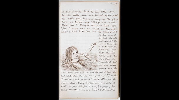 folio: 10r. The handwritten text wraps around an illustration of Alice floating on her back in water. She has one hand raised above the water as if she has only just fallen.