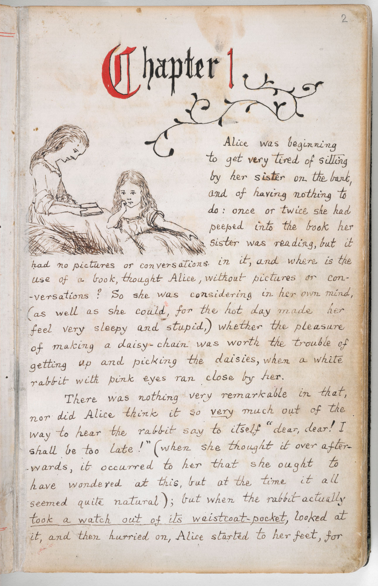 Alice's Adventures Under Ground', the original manuscript version of Alice's Adventures in Wonderland [folio: 2r]