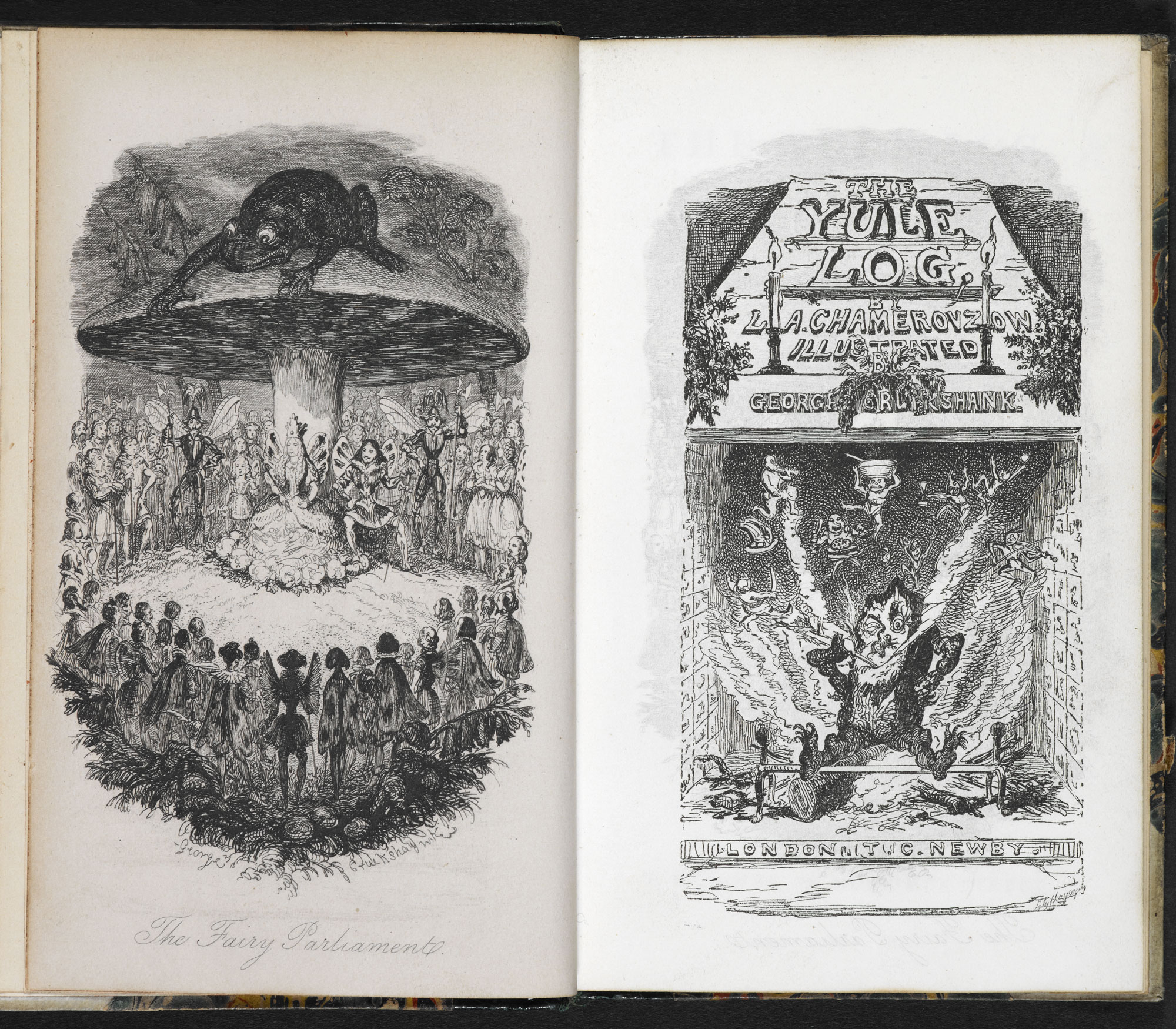 The Yule Log, a Christmas book with illustrations by George Cruikshank [page: frontispiece and title page]