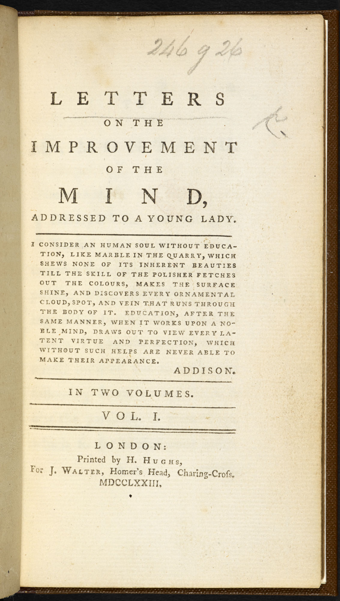 Letters on the Improvement of the Mind [page: vol. I title page]