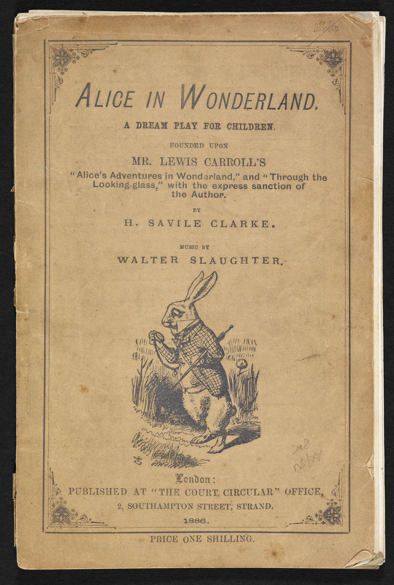 Play adaptation of Alice in Wonderland [page: front cover]