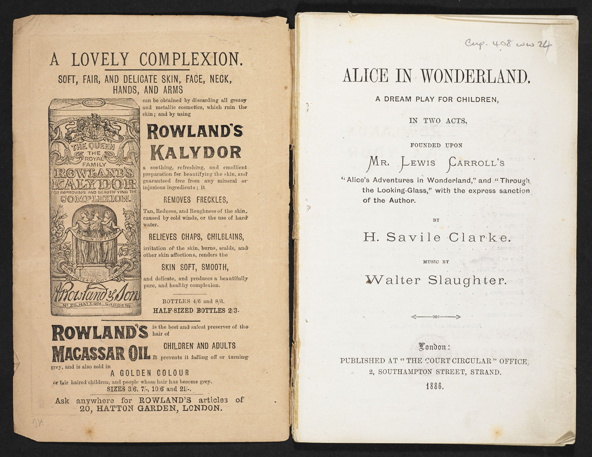 Play adaptation of Alice in Wonderland [page: inside front cover and title page]