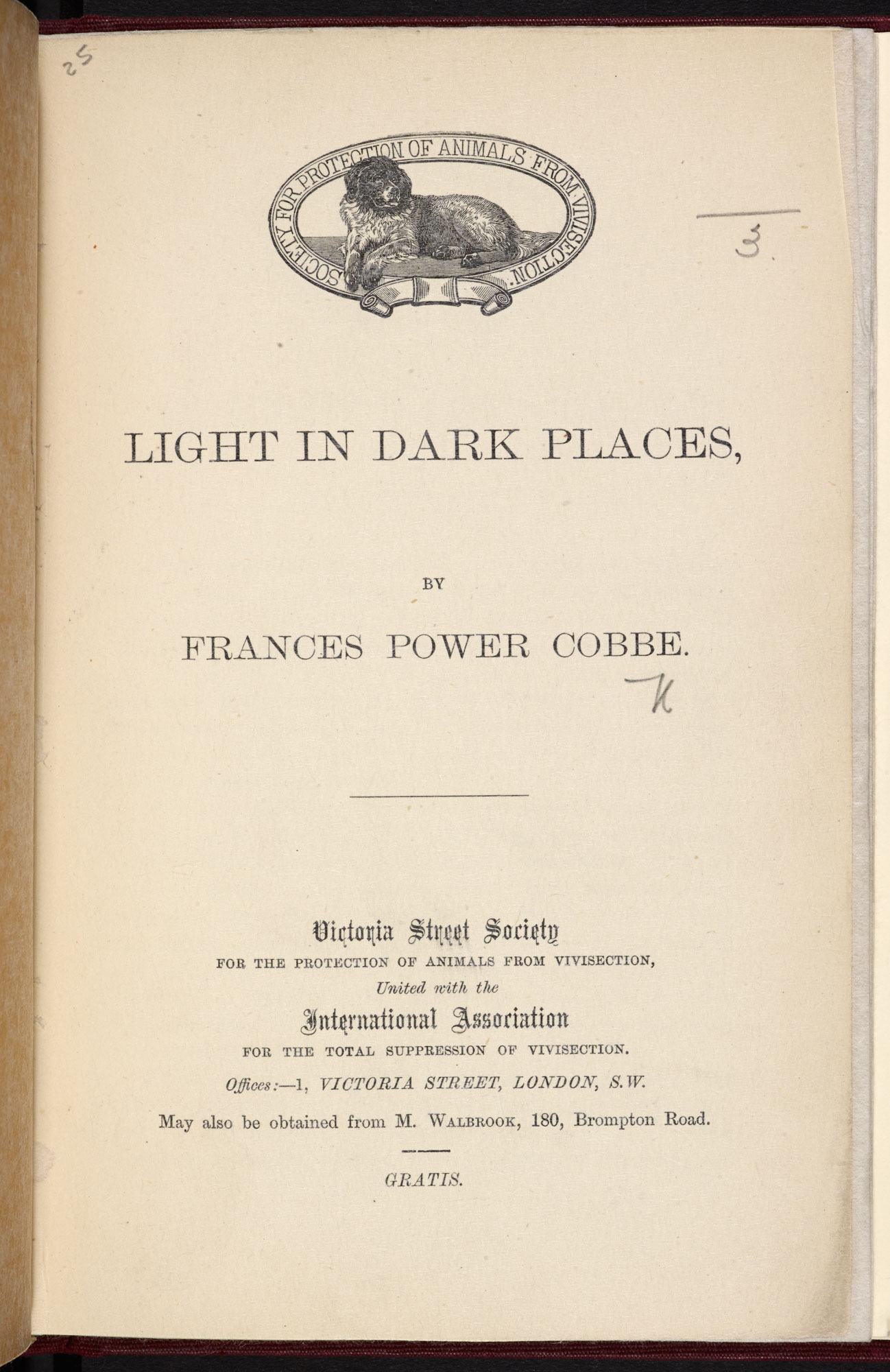 Anti-vivisection pamphlet, Light in Dark Places [page: title page]