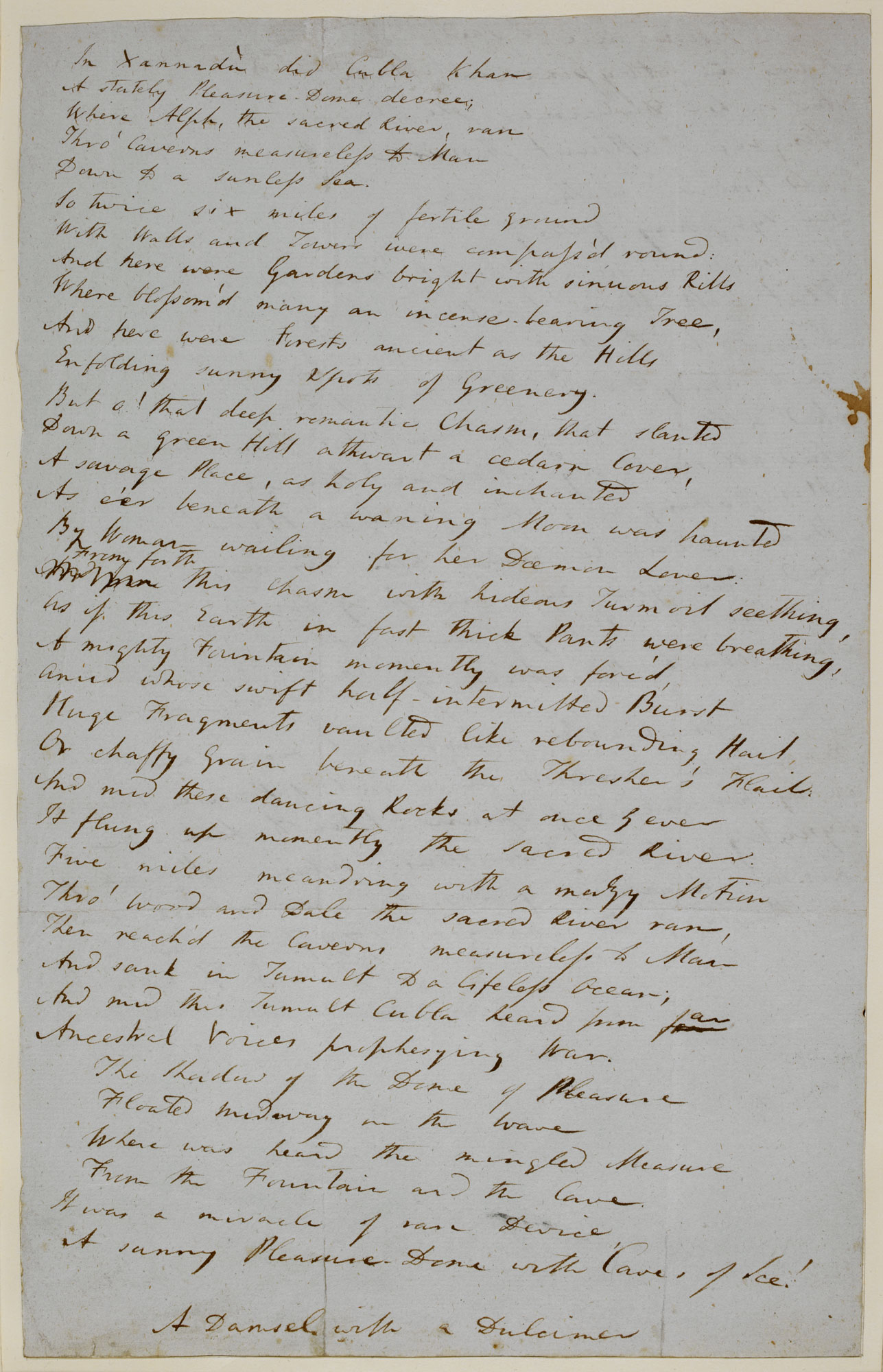 Manuscript of S T Coleridge's 'Kubla Khan' [folio: 1r]