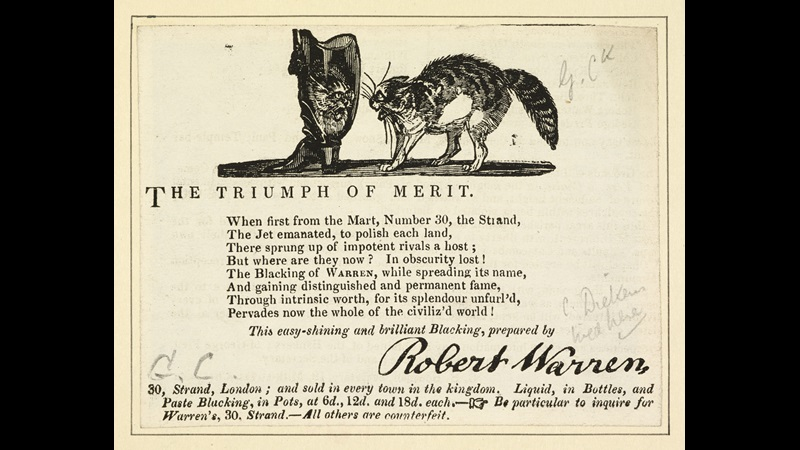Advertisement for Warren's Blacking Warehouse with cat crest