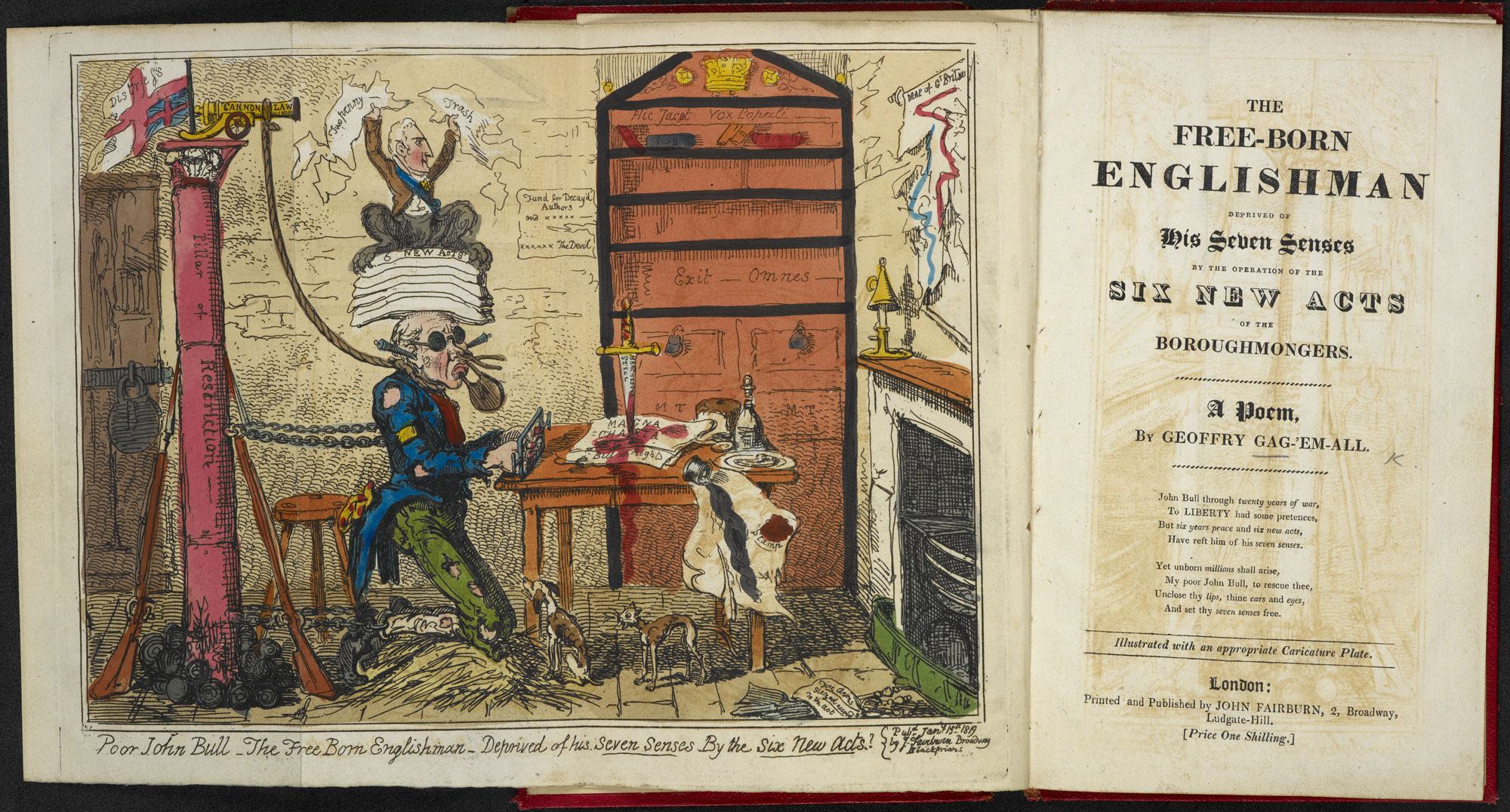 Gagging Acts cartoon by George Cruikshank with poem [page: fold-out frontispiece and title page]