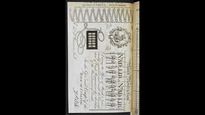 George Cruikshank and William Hone's satirical Bank Restiction Note [page: ['Bank Restriction Note']]